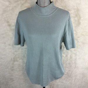 Talbots Short Sleeve Mock Neck Sweater 100% Cotton
